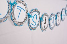 Mom To Be Damask It's A Boy Banner Baby Shower Large- Aqua & Black