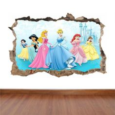 Disney Princesses - hole in the wall full colour feature sticker decal kids boys girls poster Our full colour stickers will come in one piece and will be pre-cut for an easy application to your walls.  Full Colour Disney Princesses wall art printed vinyl sticker. Size options are: Sample size ie laptop 30 cm x 20 cm Small 42 cm x 28 cm Medium 70 cm x 46 cm large 90 cm x 55 cm All Sizes are approximate. Simply Peel & Stick. Be Creative! Position your individual sticker wherever you like.  ...
