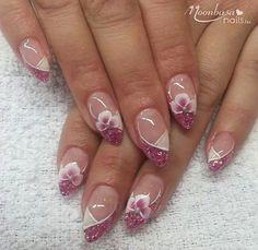 nails Source by lauriercarole Polygel Nails, Sexy Nails, Fun Nails, Christmas Nail Art Designs, New Nail Designs, Christmas Nails, Elegant Nails, Stylish Nails, Spring Nail Art