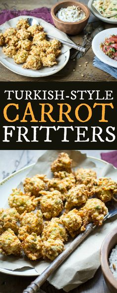 These carrot fritters are packed with feta and scallion and seasoned with a fragrant combination of cumin, coriander, and dill. Simply the best way to use up leftover carrots! Turkish Spices, Turkish Mezze, Vegetarian Recipes Easy, Delicious Recipes, Yummy Food, Carrot Recipes, Bread Recipes, Dinner Salads, Turkish Recipes