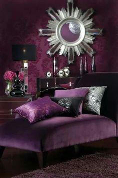 Black and Purple Bedroom Decorating Idea. Black and Purple Bedroom Decorating Idea. Pin On Bedroom Design and Style Purple Bedroom Design, Purple Interior, Bedroom Colors, Royal Purple Bedrooms, Purple Bedroom Accents, Purple Black Bedroom, Dark Bedrooms, Purple Home Decor, Luxury Bedrooms