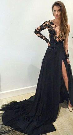 Long sleeve black prom dress, sexy prom dress, chiffon prom dress, Unique prom dress, Sexy prom dress, elegant prom dress, custom prom dresses,