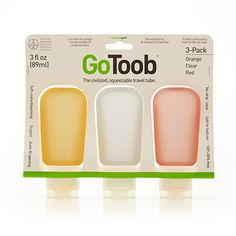 humangear GoToob 3 pack - clear/orange/red (3 fl oz)
