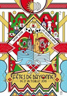 Affiche des prochaines Fêtes de Bayonne, du 27 au 31 juillet Dans 148 jours exactement!