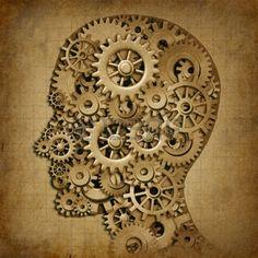 L intelligence humaine cerveau machine grunge symbole m dical avec la texture de vieux en rouages et Banque d'images