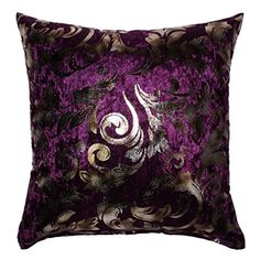 ZXKE Cushion Covers Foil Silver Floral Home Throw Pillow Cases Square 18 X 18 Purple -- Click on the image for additional details.