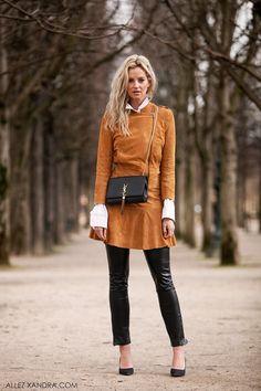 Anouk Yve teamed a mustard colored jacket   skirt w  Saint Laurent tassel  bag   Gianvito Rossi heels 32bc662b85bd