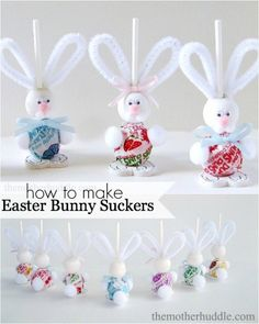 Easter Bunny Sucker Tutorial. Make them the White Rabbit for Alice In Wonderland party.