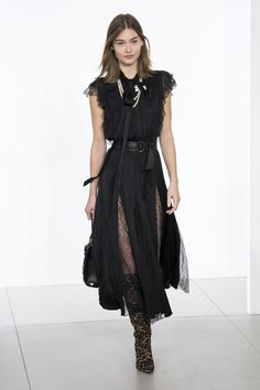 Michael Kors 2018 Fall Collection, lace back dress, black dress with lace slits