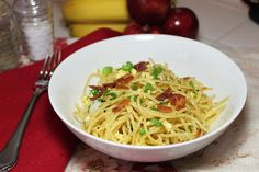 Scrambled Egg Spaghetti with bacon | Created by Diane