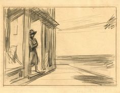 Study for South Carolina Morning: 1955  by Edward Hopper  (Whitney Museum of American Art, NYC) - American Realism (Viewed as part of the Exhibit - Hopper Drawings at the Whitney 10/5/13?)