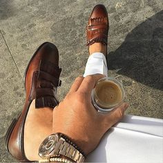 First coffee of the day. It's time to relax! Santoni Carlos with fringes and double monk as seen on our follower @Meir1401 available in store and online at #SantoniShoes.com! #Santoni #SantoniSS16 #Santoni4Men