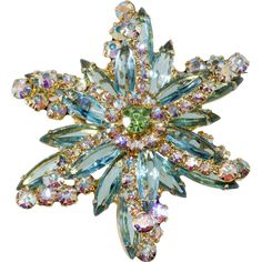 Juliana Turquoise Blue Iridescent Rhinestone Starburst Brooch Pin