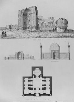 Tabriz, Blue Mosque, Iran (A century sketch of blue mosque. Islamic Architecture, Historical Architecture, Pascal Coste, Blue Mosque, Iran, 19th Century, Temple, Photo Wall, Mosques