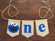 Cookie Monster ONE Highchair Banner//First Birthday by asherblaine