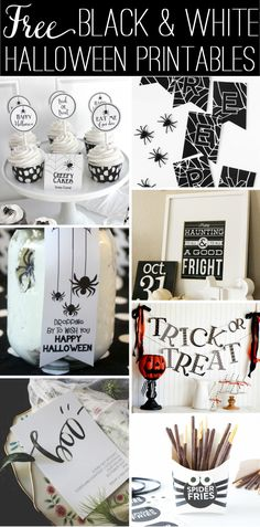 Free Black & White Halloween Printables - classic colors for Halloween!
