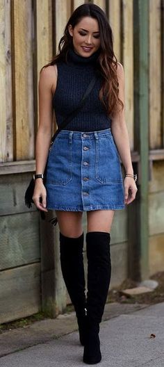 Summer look | Button up high waisted denim skirt over turtle neck cami