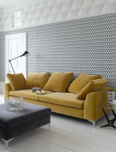 A statement piece What could be more stylish than adding a mustard yellow sofa to an otherwise grey and white room - this fabulous designer look proves that less often really is more! Slangevar 4 seater in Sunshine velvet by Sofacom. Yellow Home Decor, Yellow Interior, Mustard Sofa, Mustard Yellow, Grey And White Room, Yellow Couch, Apartment Sofa, Apartment Therapy, Living Room Decor Inspiration