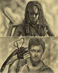 Two of my favorite characters from The Walking Dead, Daryl and Michonne. Sketchbook The Walking Dead fanart Flesh Eating, Walking Dead Art, Rick Grimes, Daryl Dixon, Post Apocalyptic, Art Google, Horror, Comic Books, Fan Art