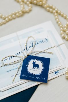 Gold and blue wedding invitation ideas with a dog by Amanda Day Rose. Wedding stationary ideas.