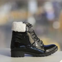 Ghete dama piele eco lacuita negre cu blanita Sport, Boots, Winter, Casual, Fashion, Deporte, Shearling Boots, Moda, Fashion Styles