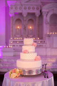 White wedding cake with pink peony accents and rhinestones // Cake: Danny Ha // Kevin Le Vu Photography