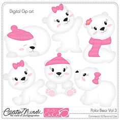 Polar Bear Cliparts Vol 3  Digital Clip Art  by StudioCinCo, $4.95