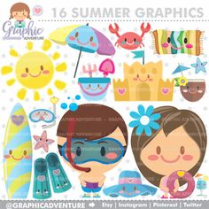 Summer Graphics for COMMERCIAL USE by www.GraphicAdventure.Etsy.com