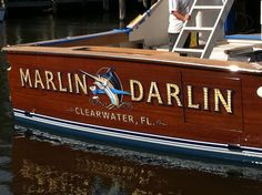 #TRANSOM: Marlin Darlin, Clearwater Florida #Boat #Transom #BoatTransom  TRANSOM #TECHNIQUE: #GoldLeaf   #BOAT #BUILDER #BoatBuilder: #SpencerYachts , #NorthCarolina