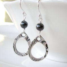 SALE Teardrop Earrings, Silver Teardrops, Fine Silver, PMC Earrings, Black Freshwater Pearl. $24.50, via Etsy.