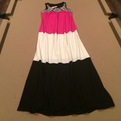 """NWT New Directions Maxi Dress Size Small. Hot pink, ivory and black with pretty ivory stitching detail around neckline. Approx. 58"""" long, 16.5"""" bust (+ a little stretch) new directions Dresses Maxi"""