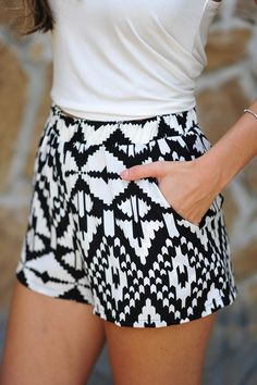 Black + white patterned shorts