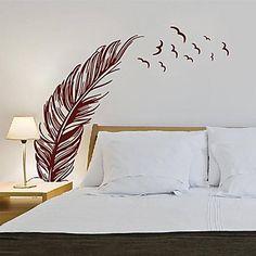 pared pegatinas pluma moderna con los pájaros que vuelan de pvc paisaje tatuajes de pared decorativos - EUR € 21.48