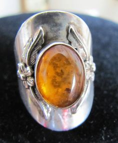 Amber Sterling Silver Ring Southwest Mexico by EmporiumStore