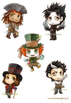 anime Johnny Depp Sticker set of 5 Johnny Depp Characters, Johnny Depp Movies, Movie Characters, Johnny Depp Willy Wonka, Chibi, Cute Disney, Disney Art, Disney Drawings, Cute Drawings