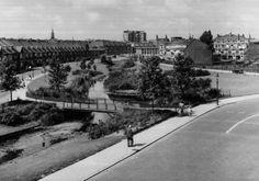 Links de Swammerdamsingel met op de voorgrond een bruggetje over de vijver naar de Snelliussingel. Rechtsboven de van Swindensingel,gezien in de richting van het rioolgemaal aan de Marconistraat. Boven de Swammerdamsingel de toren van de Frankelandkerk met rechts daarvan de achterzijde van de flat Singelwijck 1953