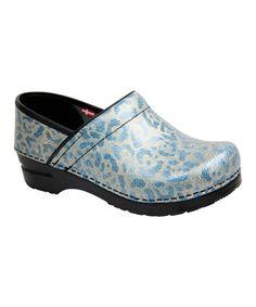 Look what I found on #zulily! Light Blue Cheetah Professional Bobbie Leather Clog #zulilyfinds