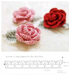Watch The Video Splendid Crochet a Puff Flower Ideas. Phenomenal Crochet a Puff Flower Ideas. Roses Au Crochet, Appliques Au Crochet, Col Crochet, Crochet Leaves, Crochet Chart, Crochet Motif, Irish Crochet, Crochet Flowers, Diy Crochet Rose