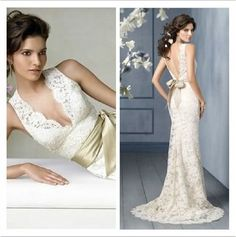 Lovely lace wedding gown with deep V in back and front.  Metallic sash gives it a vintage look.  Purchased for $99!    Click on the image to see more #budget-friendly #wedding #dresses!