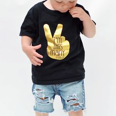 """I'm This Many"" Two Year Old Birthday T-Shirt, Black & Gold Foil, 2T Size -- FAYFAIRE Clothing Co"