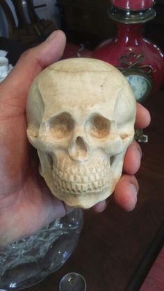 Ivory skull memento mori,with watch,years 1800-1900?