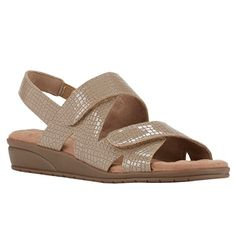 Orwell Sandal in Taupe Croc Patent Leather Velcro Straps, Soft Suede, Crocs, Ankle Strap, Patent Leather, Taupe, Wedges, Women's Sandals, Style