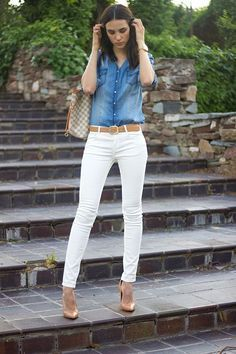 Outfits fashion, white pants outfit y white jeans outfit. Casual Work Outfits, Mode Outfits, Work Casual, Jean Outfits, Casual Chic, Fall Outfits, Fashion Outfits, Womens Fashion, Fashion Tips