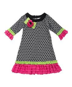 Another great find on #zulily! Black & Fuchsia Ruffle Drop-Waist Dress - Toddler & Girls #zulilyfinds