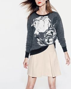NOV '14 Style Guide: J.Crew women's oversize sweatshirt in exploded floral and crepe box pleat skirt.