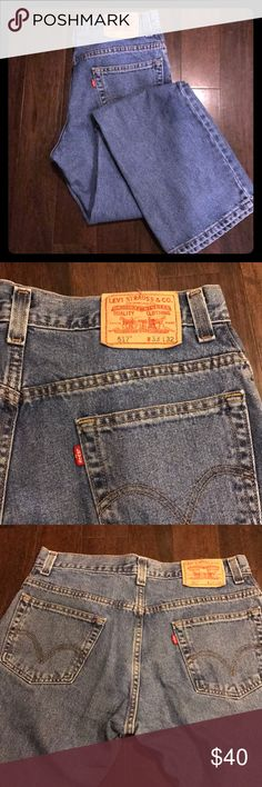 Levi's 517 boot cut 33 x 32 flawless! Not sure how old these are. The jean quality is extremely sturdy and feels like a vintage jean, but the tag looks quite modern. At any rate, these jeans will last decades if cared for. Sturdy Levi's 517s. No defects! Only thing that would make these jeans better is if they came with a hot guy on a motorcycle. Levi's Jeans Bootcut
