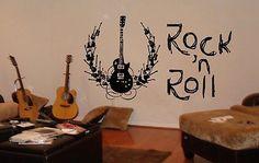Rock'n'Roll decal Rock'n'Roll sticker R'n'R Guitar decal Wall Art Stickers tr274
