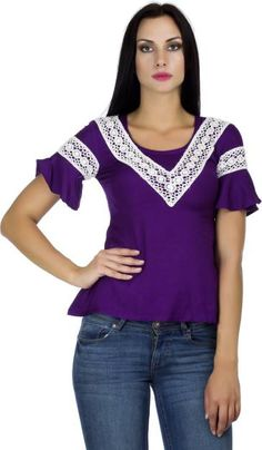 PrettyPataka Casual, Party Short Sleeve Solid Women's Purple Top