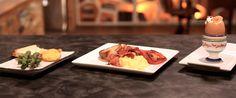 UOVA  alla coque  strapazzate con bacon  tuorlo fritto