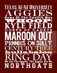 Texas A Aggies University Subway Art Print Poster  by iloveitall, $32.00